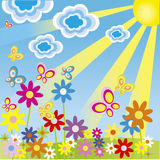 Floral background with butterflies. Flowers and sun Stock Photography