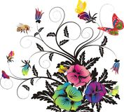 Floral background, and Butterflies, and bees Royalty Free Stock Image