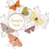 Floral background with butterflies and space for text Stock Photo