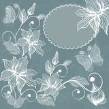 Floral background with butterflies in vector. Abstract background with floral elements and butterflies Royalty Free Stock Image