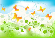 Floral background with butterfly. Royalty Free Stock Images