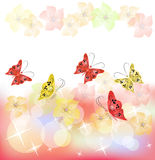Floral background with butterfly. Floral background for an insert of the text or a photo Stock Image