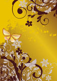 Floral background with butterfly. Grunge floral background with butterfly vector illustration