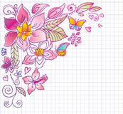Floral background with butterfly and hibiscus. Doo Royalty Free Stock Images