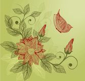 Floral background with butterfly in vector Stock Photo