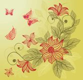 Floral background with butterfly in vector. Floral seamless backgrounds for design of fabrics and wallpapers in vector Royalty Free Stock Photography