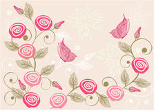 Floral background with butterfly in vector. Seamless form backdrops for the design of fabrics and wallpapers Stock Photography
