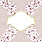 Floral background card. Elegant floral card background with frame Stock Images
