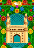 Floral background with Charminar showing Incredible India Royalty Free Stock Photography