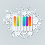Floral background with colorful keys of pianoforte. Musical theme wallpaper Royalty Free Stock Images
