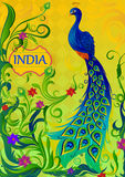 Floral background with colorful Peacock showing Incredible India Stock Images