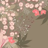 Floral background with contour flowers Stock Photography