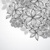 Floral Background Corner BW Stock Image