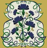 Floral background with cornflowers in art nouveau style. Vector illustration Royalty Free Stock Photos