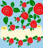 Floral background with cream banner. Illustration of pale blue background with red rose flowers and green leaves with a cream banner for your text Stock Photography