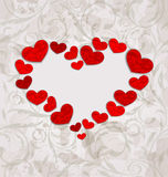 Floral background with crumpled paper hearts for Valentines Day Stock Photo