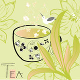 Floral background with a cup of tea Royalty Free Stock Photos