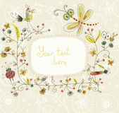 Floral background. Cute floral background with the birds Royalty Free Stock Images
