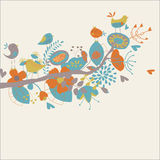 Floral background. With cute birds in cartoon style Stock Image