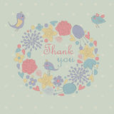 Floral background. With cute birds in cartoon style. Thank you Royalty Free Stock Photos