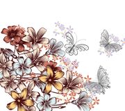 Floral background with cute butterflies and flowers Royalty Free Stock Photo