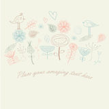Floral background. With cute hand drawn flowers, hearts and birds in cartoon style Stock Image