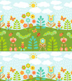 Floral background with cute ladybirds Royalty Free Stock Image
