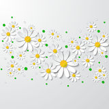 Floral  background with 3d chamomiles and dots Royalty Free Stock Photos