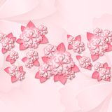 Floral  background with 3d cut out paper pink flowers with leaves. Floral tender background with 3d cut out paper pink flowers with leaves. Vector illustration Royalty Free Stock Photos