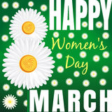 Floral background with daisies and a congratulation from 8th March. Happy Womens Day Stock Photography