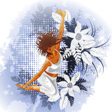 Floral background with dancing girl Stock Photos