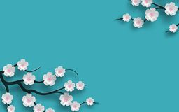 Floral background decorated blooming cherry flowers branch, bright blue backdrop for spring time season design. Banner, poster Stock Photos