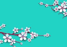 Floral background decorated blooming cherry flowers branch, bright blue backdrop for spring time season design. Banner, poster, fl Stock Images