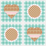 Floral background, decorative patchwork hearts. Easter vector pattern for cushion, pillow, bandanna, silk kerchief or shawl fabric Royalty Free Stock Images