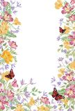 Floral background. Decorative summer flower frame. Tropical nature. Floral background. Decorative summer flower frame. Tropical bouquet with leaves and butterfly Royalty Free Stock Images