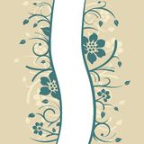 Floral background design. Curved floral background design in teal and beige colors Stock Photography