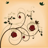 Floral background design. Beautiful floral background design with birds Stock Photography