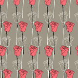 Floral background in Doodle style, postcard rose Stock Photos