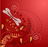 Floral background with dragonfly Stock Photos