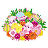 Floral background with Easter eggs Stock Images