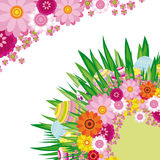 Floral background with Easter eggs. An illustration for your design project Stock Image