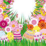 Floral background with Easter eggs Stock Photos