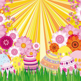 Floral background with Easter eggs royalty free stock image