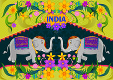 Floral background with elephant showing Incredible India. In vector Stock Image