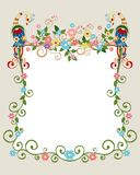 Floral background with fabulous birds Stock Images