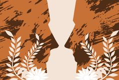 Artistic background with stylized faces and floral decorations vector illustration