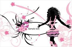 Floral background with female silouhette. Vector background with floral pattern and fashion woman Royalty Free Stock Images