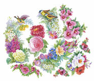 Floral background. Floral card. Watercolor floral bouquet. Birthday card. Floral background. Floral card. Watercolor floral bouquet. Birthday card Royalty Free Stock Images