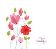 Floral background. Floral card. watercolor poppies Royalty Free Stock Image