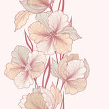 Floral background. Flourish seamless vertical border. Floral background. Greeting card with flower. Flourish border. Gentle decor with summer flower dahlia stock illustration
